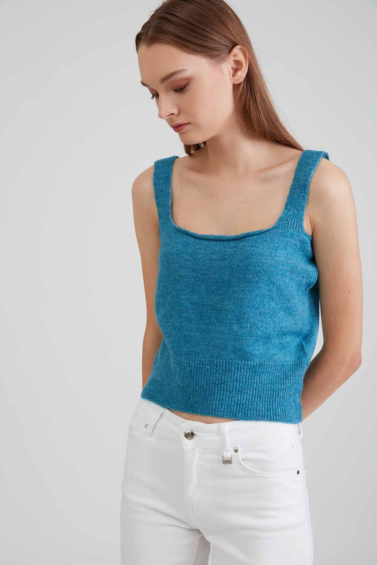 Askılı Mini Triko Bluz - Thumbnail
