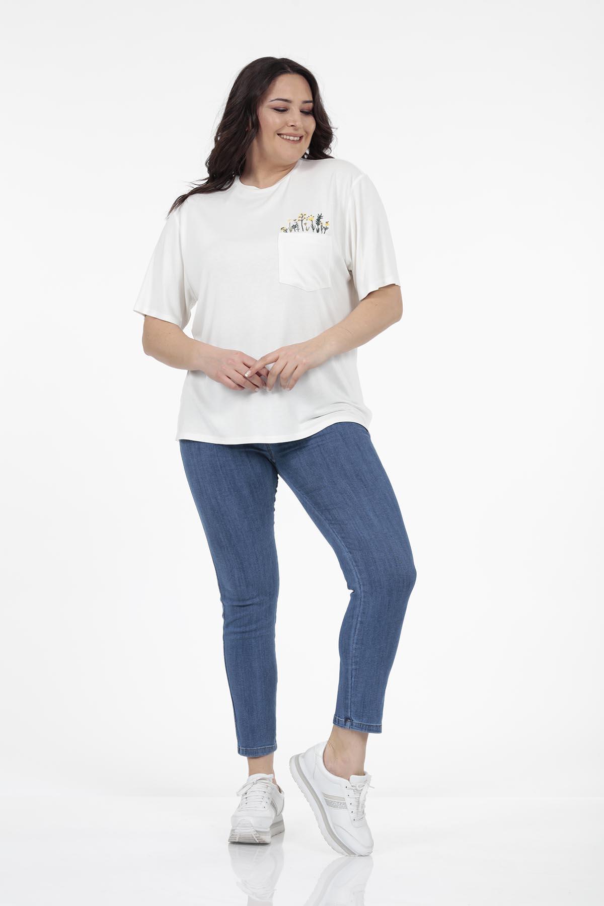 Cep Çiçek Detaylı T-shirt - Thumbnail