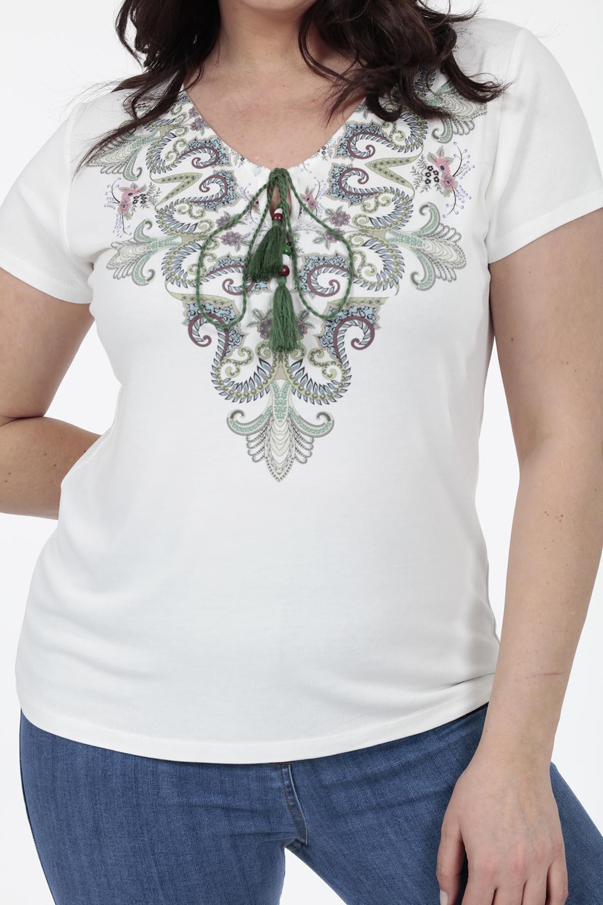 Baskılı Yakada Bağcık Detaylı T-shirt - Thumbnail