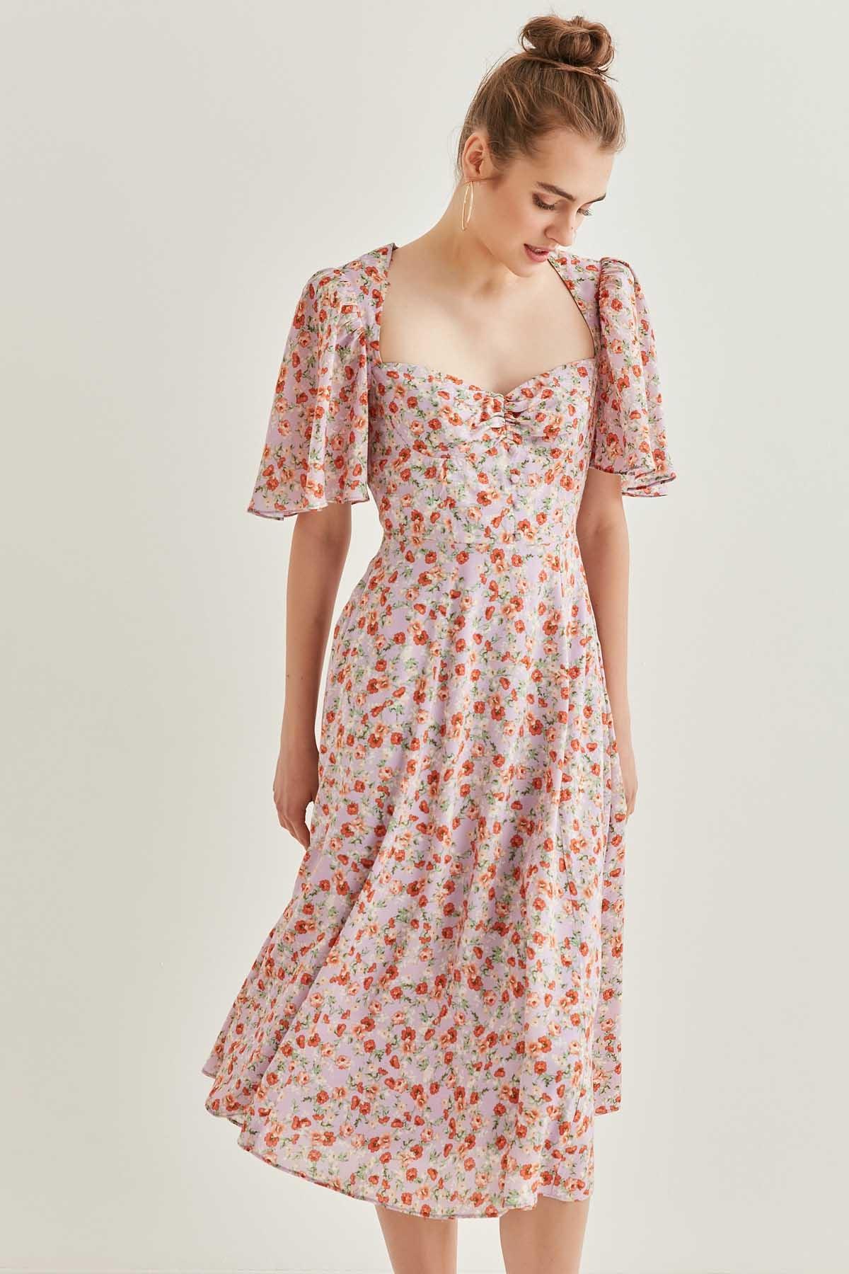 Çıtır Çiçek Desenli Volan Kol Detaylı Midi Elbise - Thumbnail