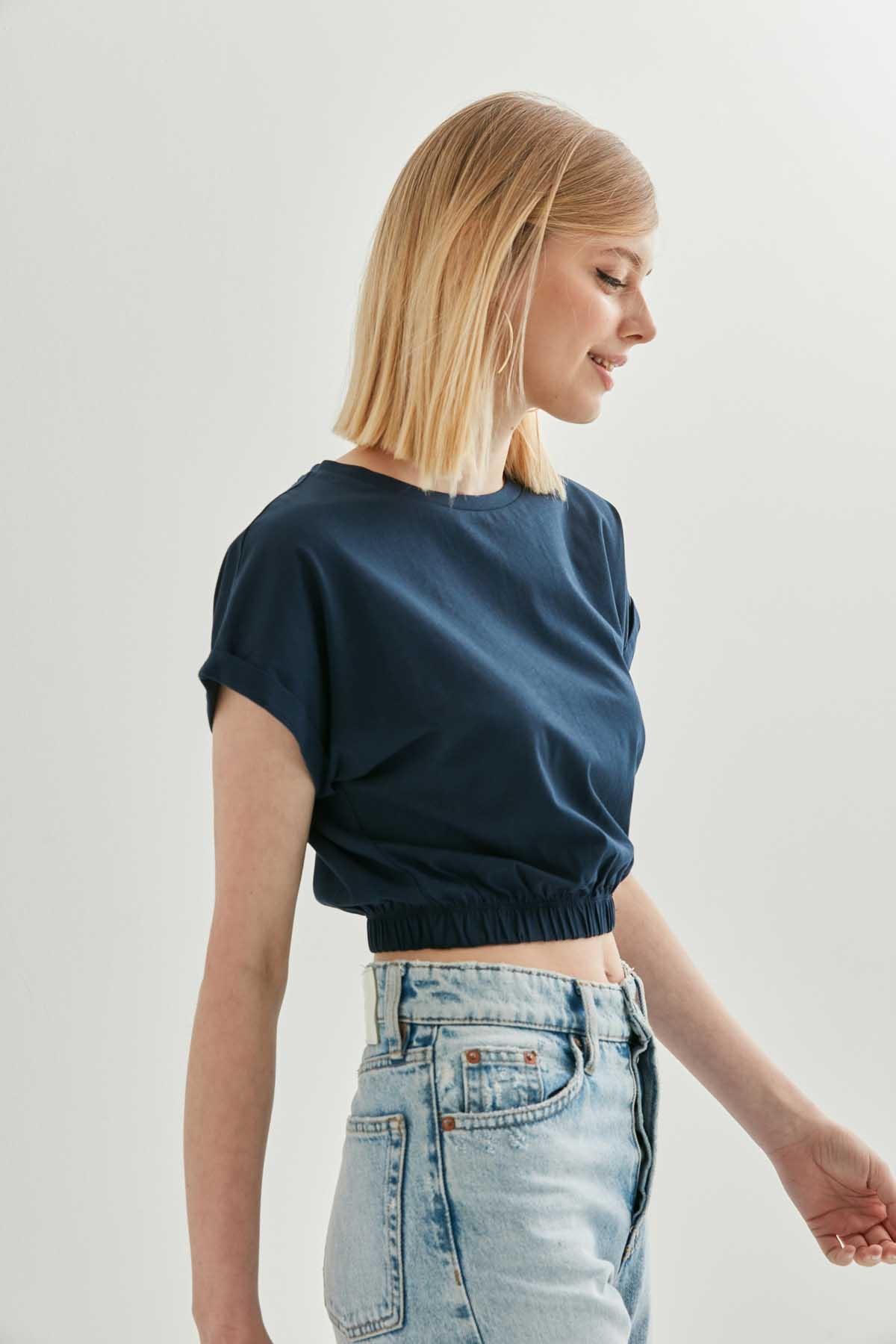 Düşük Kol Bel Lastik Detaylı Bluz - Thumbnail