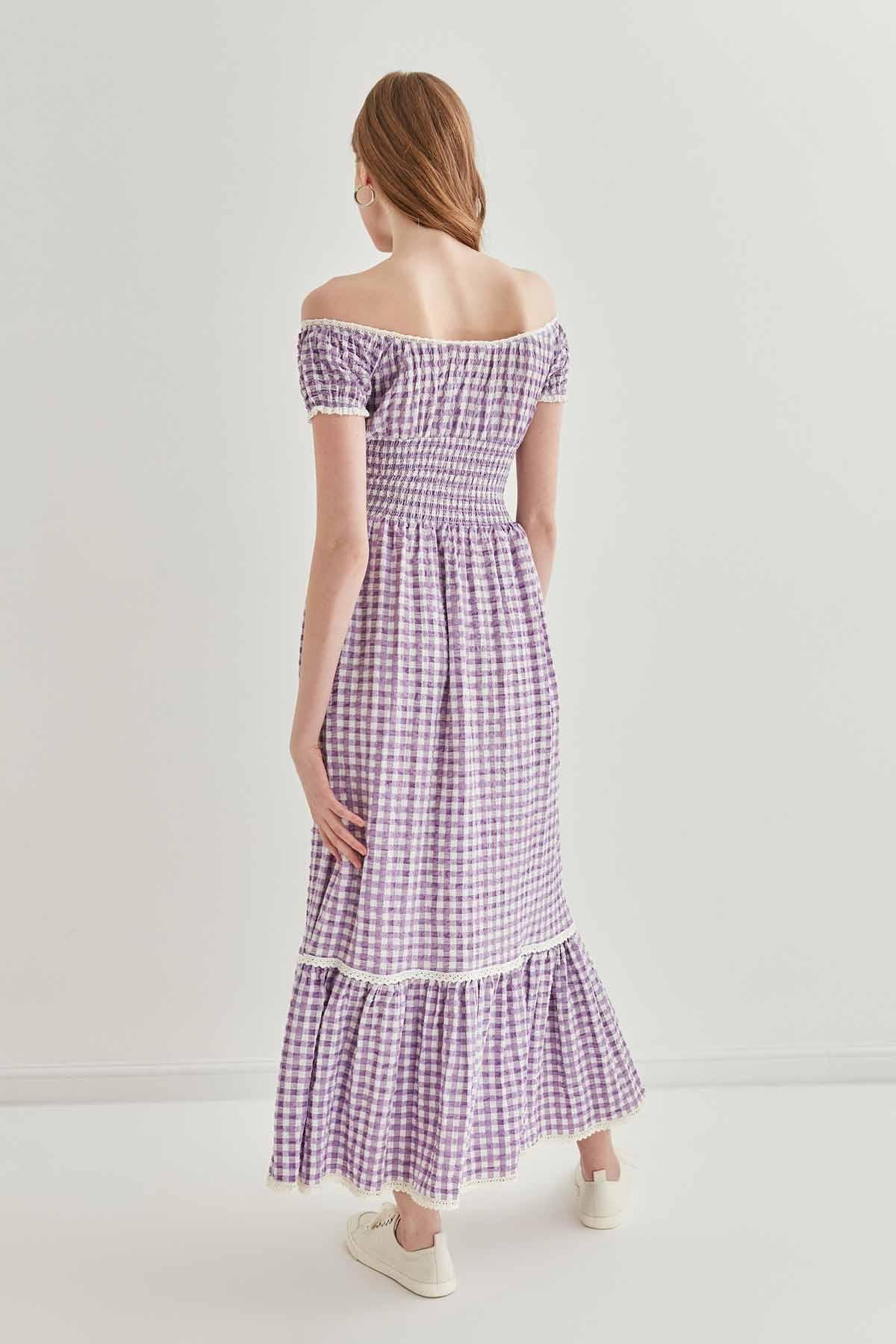 Güpür Şerit Detaylı Uzun Country Elbise - Thumbnail