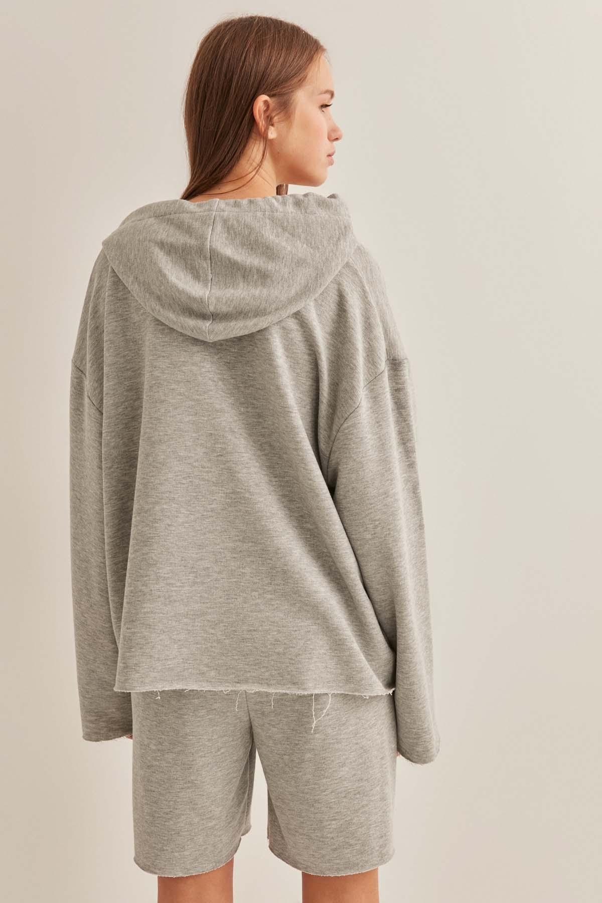 Kapşonlu Bol Form Sweatshirt - Thumbnail