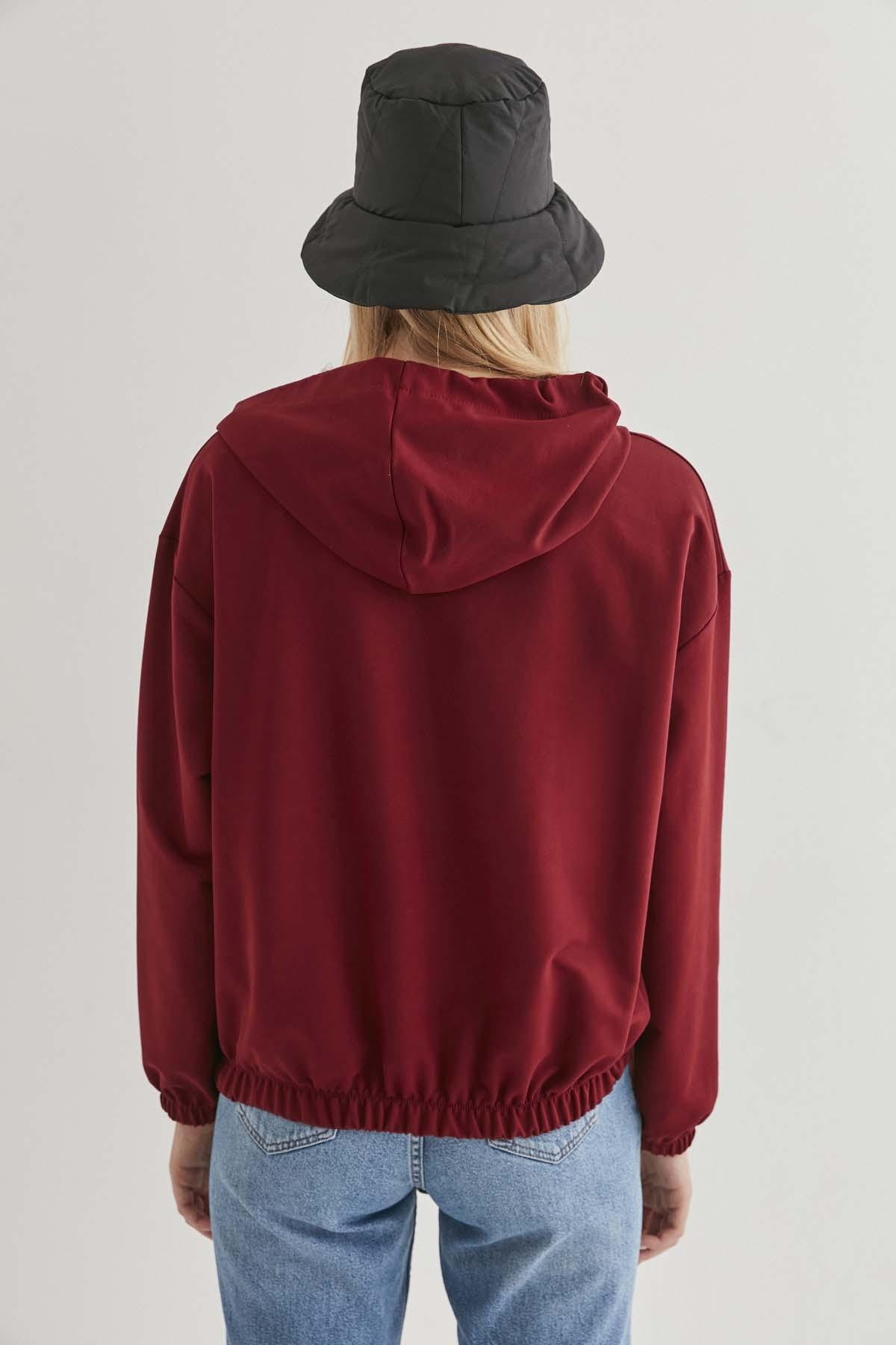 Kapüşonlı Basic Sweatshirt - Thumbnail