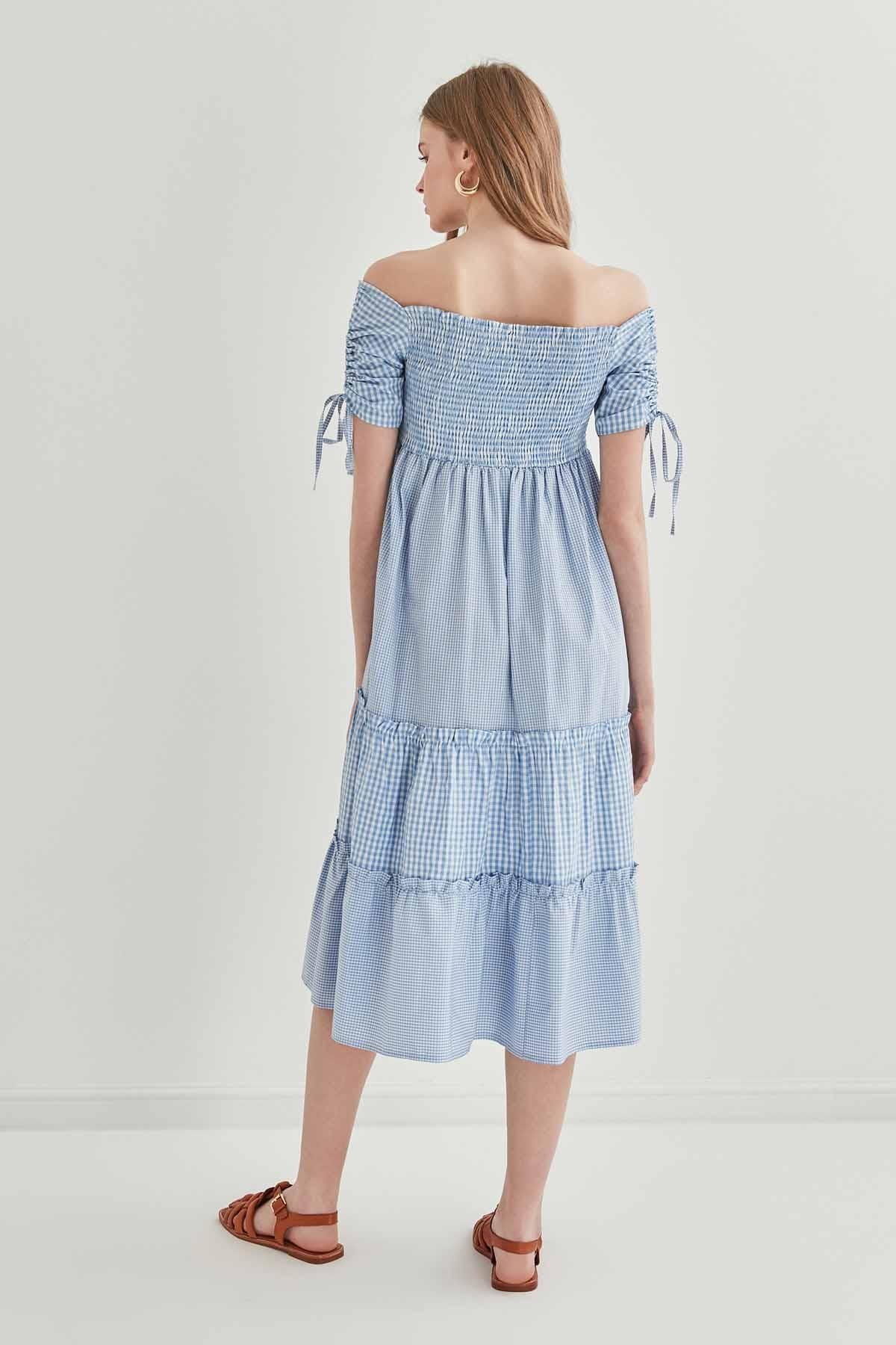 Kollar Büzmeli Gipeli Country Elbise - Thumbnail