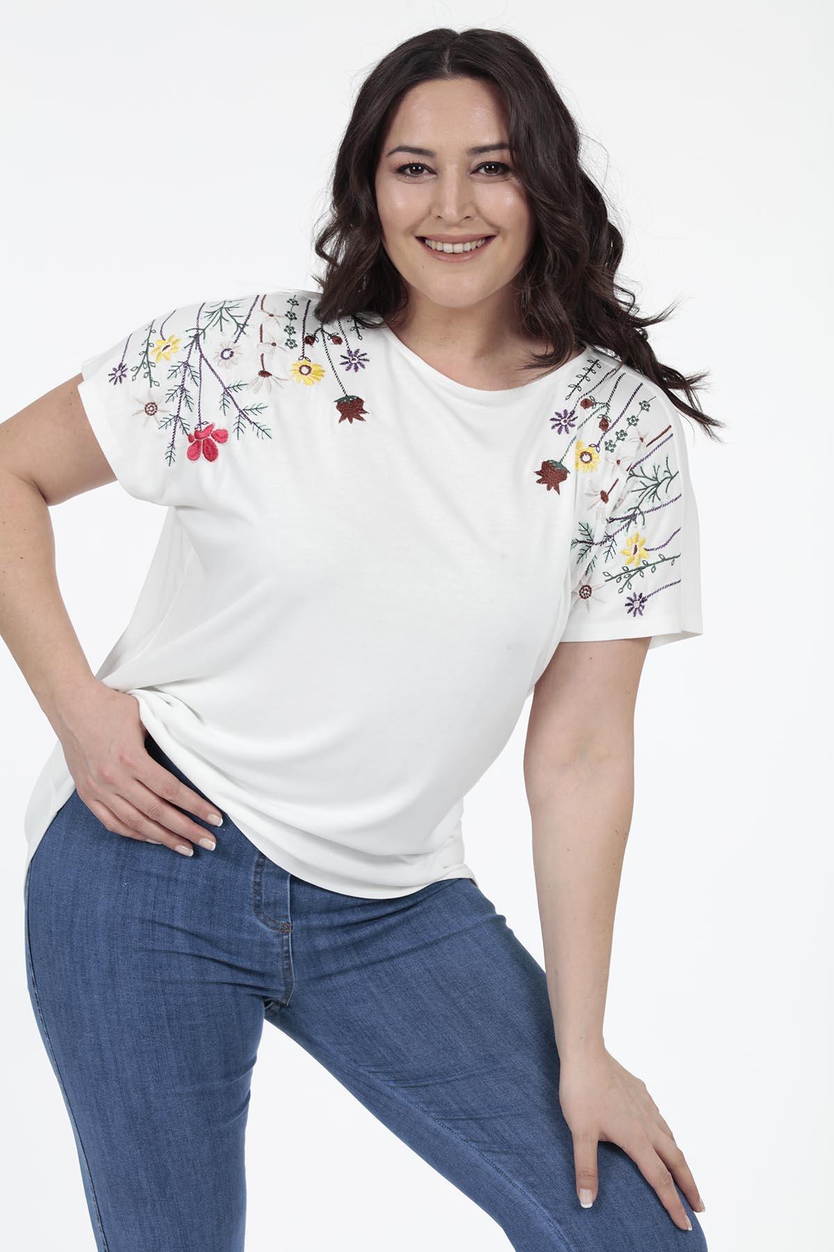 Omuz Çiçek Baskılı T-shirt - Thumbnail