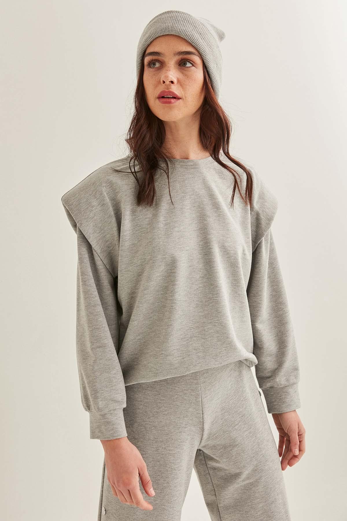 Omuz Detaylı Sweatshirt - Thumbnail