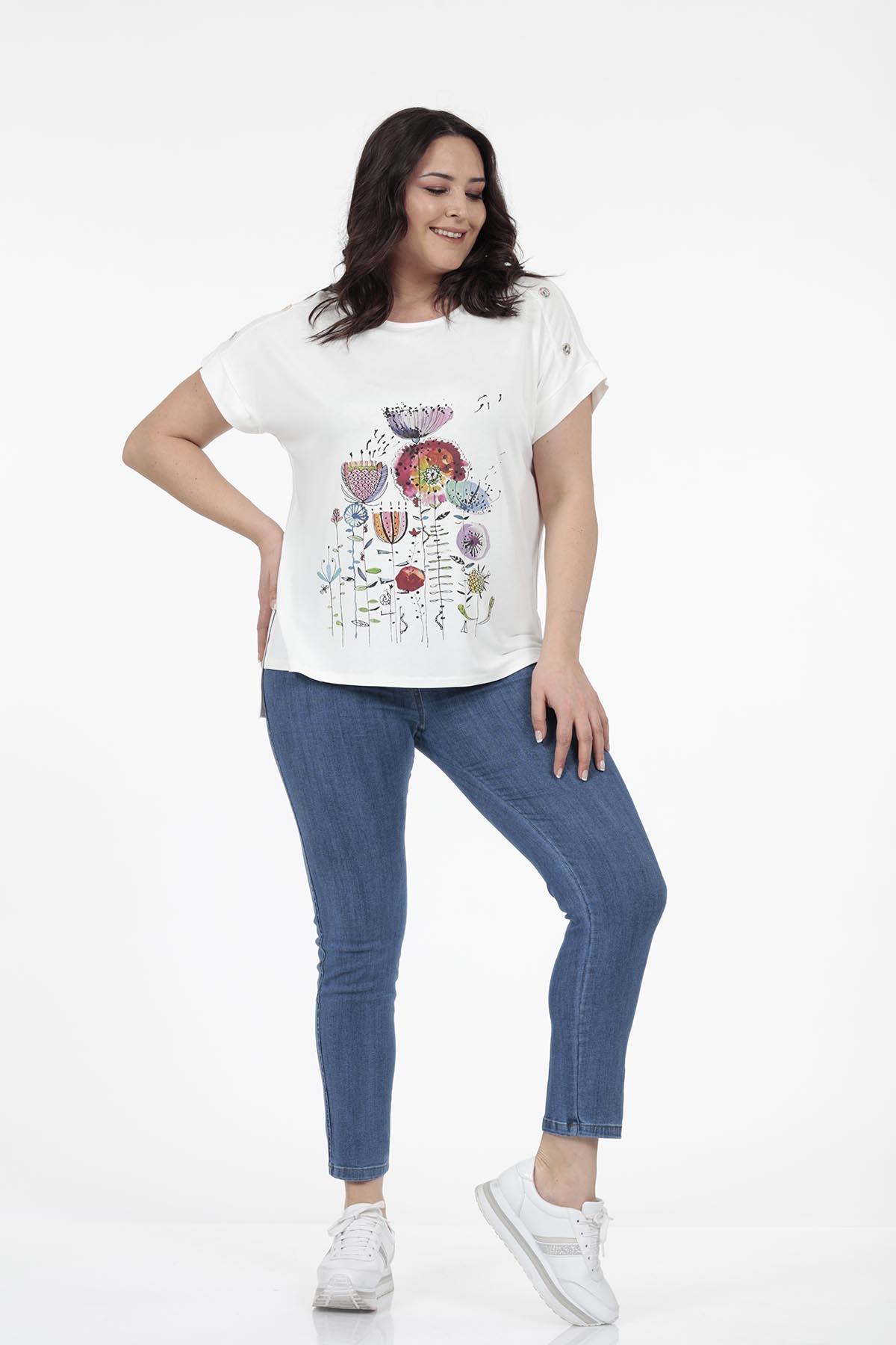Önü Çiçek Baskı Detaylı T-shirt - Thumbnail