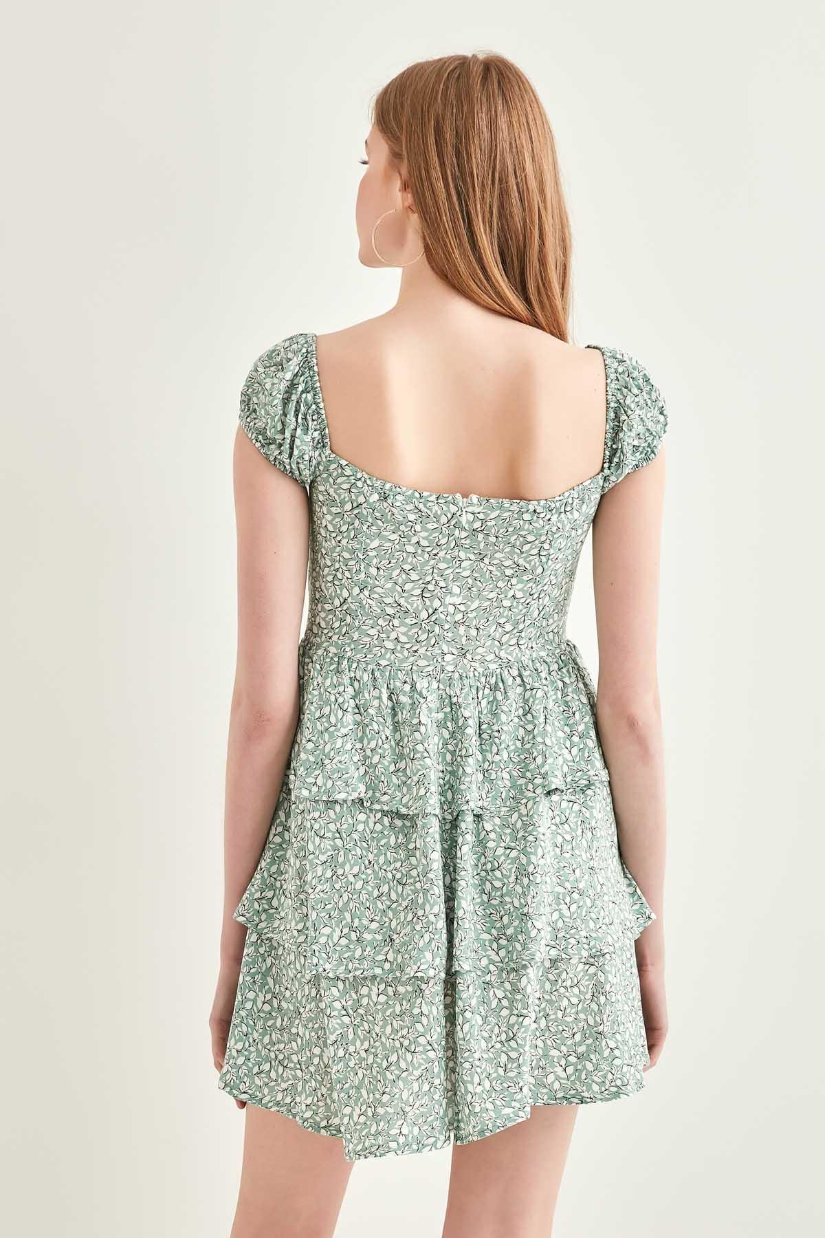 Yaka Bağcık Desenli Eteği Kat Kat Elbise - Thumbnail