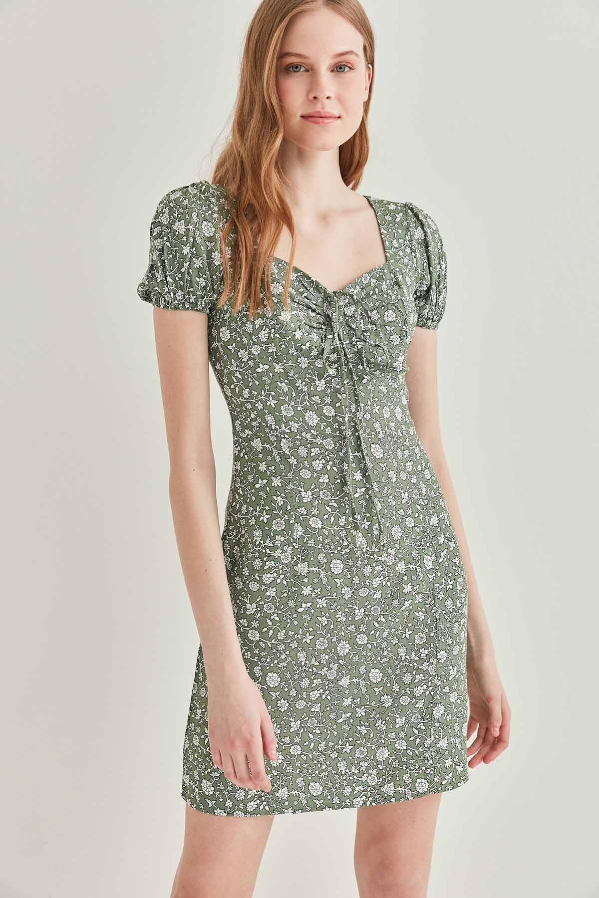 Yaka Bağcık Detaylı Minik Kol Elbise - Thumbnail