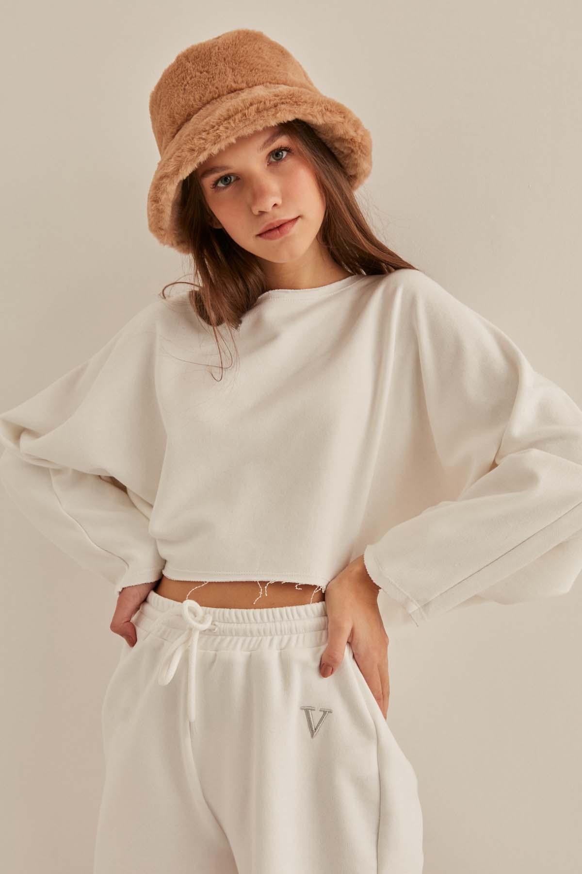 Yarasa Kol Crop Sweatshirt - Thumbnail